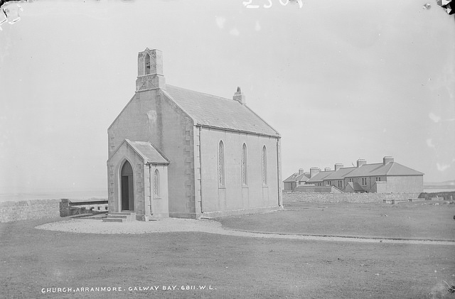 A black and white picture of of Church of Saint Thomas Inishmore Aran Islands Circa 1900