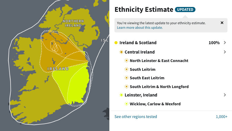 Figure 1: an Ethnicity Estimate from Ancestry showing hotspots in the Leitrim-Longford area and Wicklow-Carlow-Wexford area