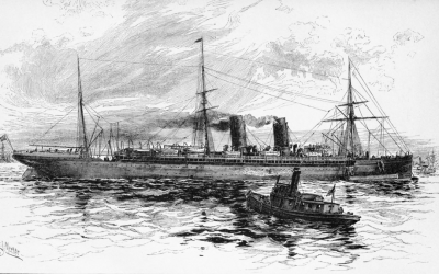 A black and white picture of the Etruria ship sailing.