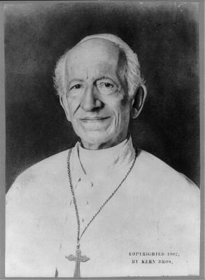 A black and white picture of Pope Leo XIII who was the former head of the catholic church. the foundation stone he blessed is in the Dominican College, Griffith Avenue.