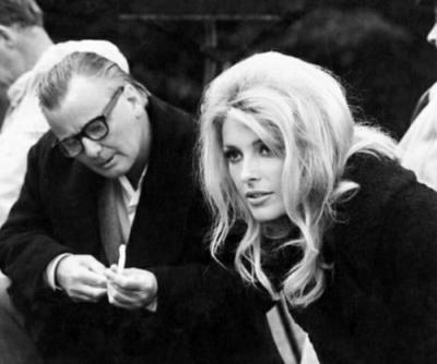 A black and white Picture of director J. Lee Thompson alongside Sharon Tate