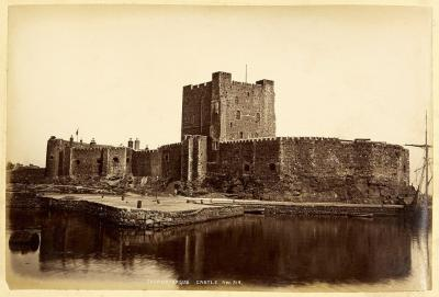 A picture of Carrickfergus Castle in Carrickfergus in County Antrim, Ireland. Carrickfergus Castle was built by John de Courcy and it is set on the northern shore of the Belfast Lough.