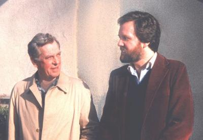 A picture of Joseph Campbell, American professor with Jonathan Young. His most known work is his book called Heroes with a thousand faces.