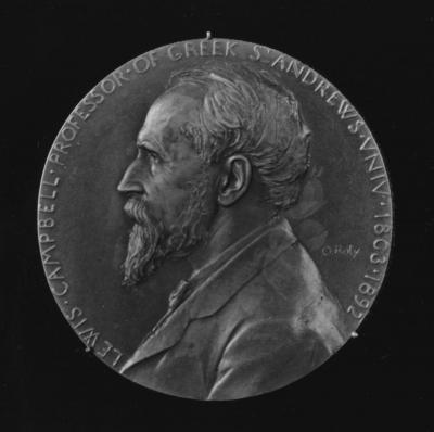 A picture of Lewis Campbell, British classical scholar and professor of Greek, engraved on a round metal medal.