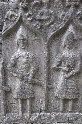 A picture showing carvings of gallowglasses, also known as Irish Mercenaries. The Dominican Abbey at Roscommon Abbey is known for its famous carving of gallowglasses warriors in their armors.