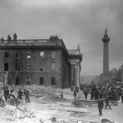 The shell of the G.P.O. on Sackville Street (later O'Connell Street), Dublin in the aftermath of the 1916 Rising.