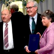 Bill Ryan and Helen Fox present His Excellency Mr Kevin Vickers Canadian Ambassador with a copy of their book: (Photo  Mike Horrigan)