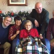Molly Madden in the company of her children on her 109th birthday in December 2015