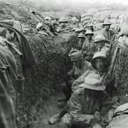 Picture shows members of the Royal Irish Fusiliers in a trence on the Gallipoli Penninsula in 1915