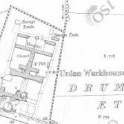 Carrickmacross Workhouse on Historic 25 inch map (1897-1913)