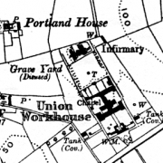 Downpatrick Workhouse on 1932 OS map