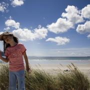 Little girl at Trawmore Strand, Achill Island, Co. Mayo, Ireland