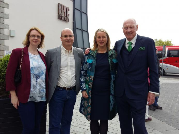 Pictured at the launch of Epic, Ireland Reaching Out's Clare Doyle, Chairperson Mike Feerick, Epic Founding Director Fiona Ross and Founder Neville Isdell