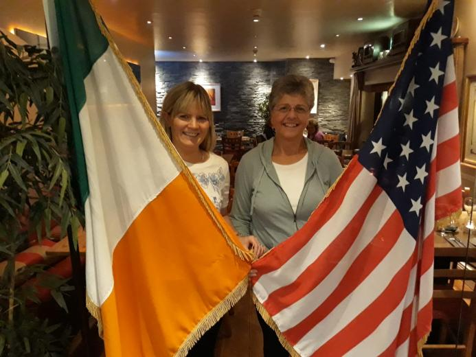 Cousins Anne LeBlanc and Geraldine Walsh meet in Kinsale for the first time.