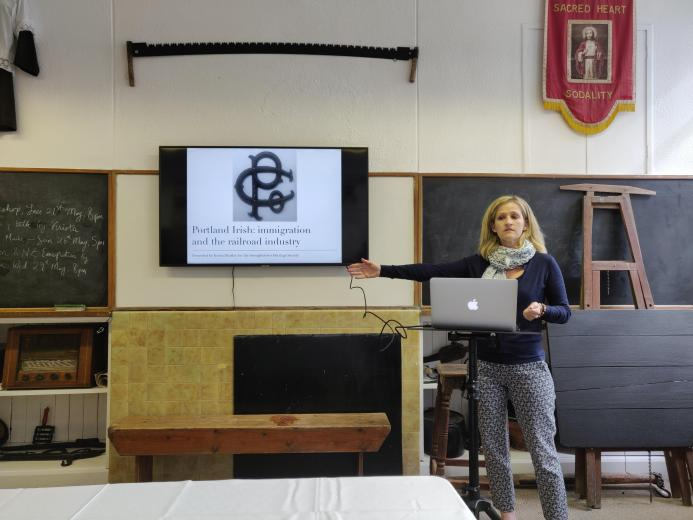 Krista Heatley gave a lecture to the Annaghdown Heritage Society entitled Portland Irish: Emigration and the Railroad Industry