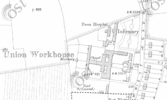 Tullamore Workhouse on Historic 25 inch map (1897-1913)