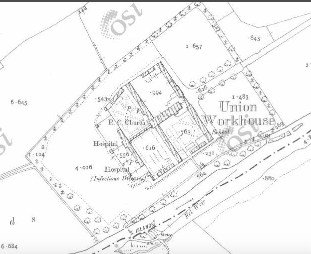 Ballymahon Workhouse on Historic 25 inch map (1897-1913)