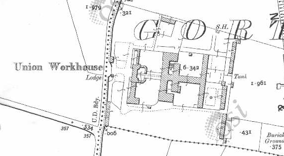 Thurles Workhouse on Historic 25 inch map (1897-1913)