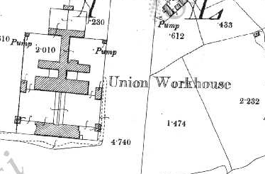 Corofin Workhouse on Historic 25 inch map (1897-1913)