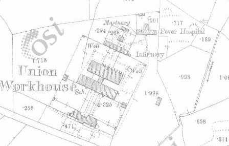 Castletownbere Workhouse on Historic 25 inch map (1897-1913)
