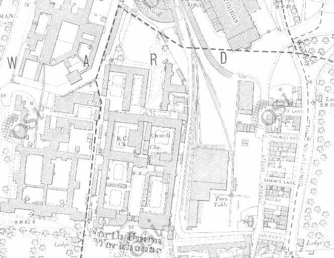 Dublin North Workhouse on Historic 25 inch map (1897-1913)