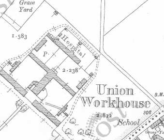 Tobercurry Workhouse on Historic 25 inch map (1897-1913)