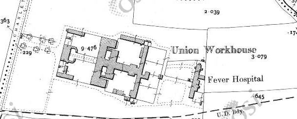 New Ross Workhouse on Historic 25 inch map (1897-1913)