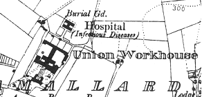 Omagh Workhouse on 1908 OS map