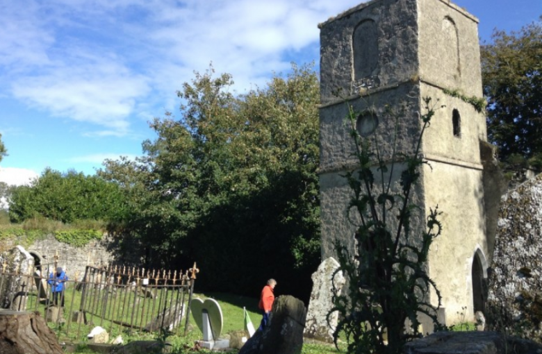 Surveyors at work in Clenor Graveyard, outside Doneraile