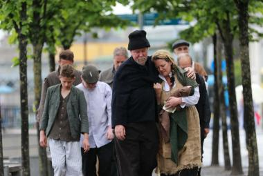 Participants in the National Famine Walk en route to Dublin