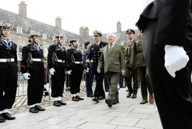 President Michael D Higgins reviewing a Guard of Honour from The Irish Defence Forces © Maxwells