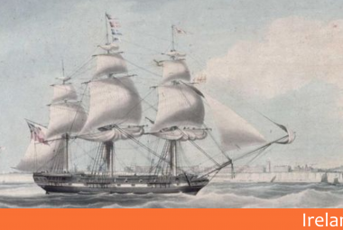 Painting of a ship carrying immigrants to Australia